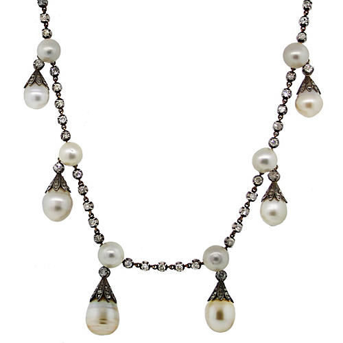 Antique Gold & Silver Pearl Necklace