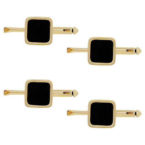 14k Yellow Gold & Onyx Stud Set