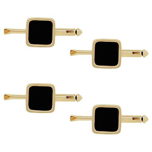 14k Yellow Gold & Onyx Stud Set