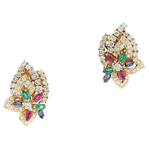 18K Yellow Gold & Gemstone Earrings