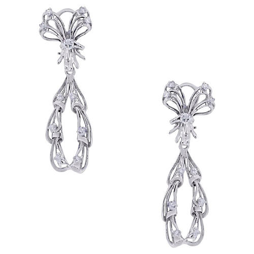 White Gold Diamond Drop Dangle Earrings