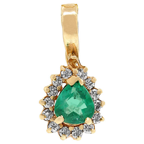 Yellow Gold Diamond and Emerald Pendant
