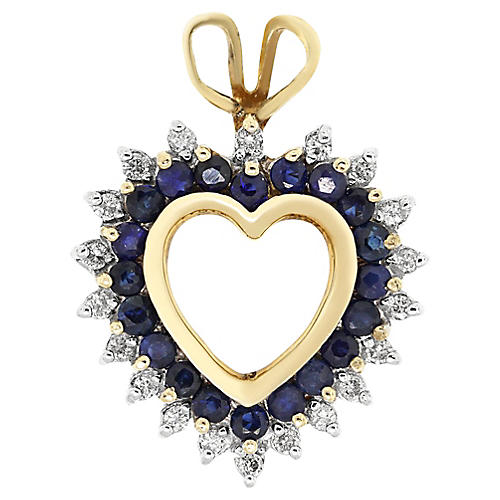 Yellow Gold Diamond and Sapphire Pendant