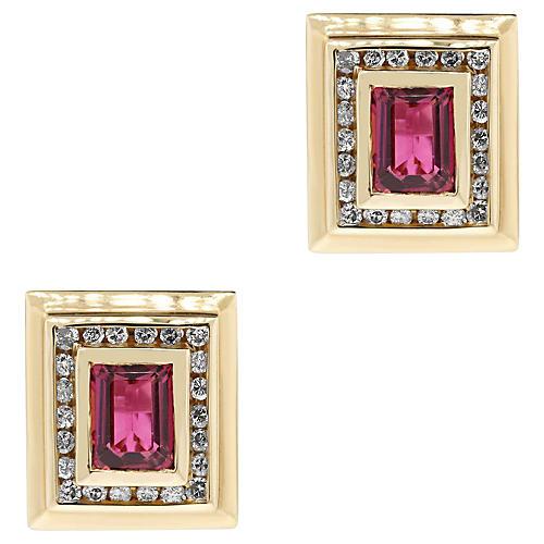 Yellow Gold Diamond/Tourmaline Earrings