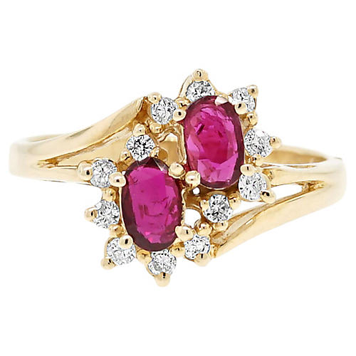 14k Yellow Gold Diamond/Ruby Ring