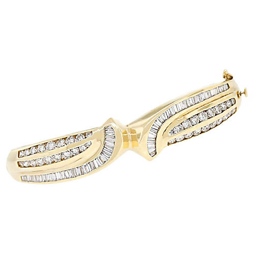 14k Yellow Gold 2.50ctw Diamond Bangle