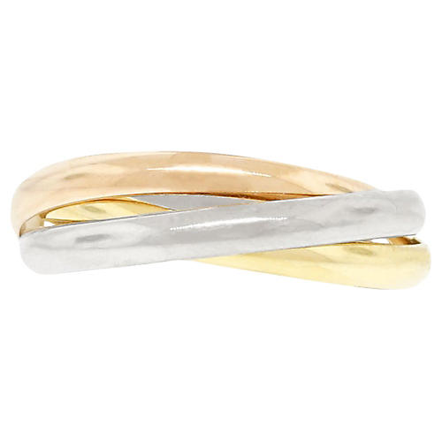 18k Tri-Color Gold Rolling Ring