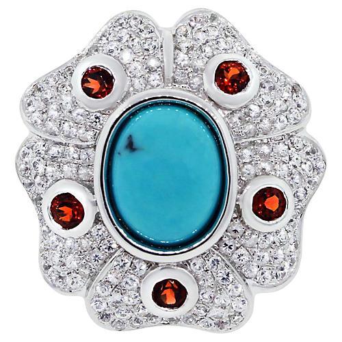 Gold, Diamond, Turquoise & Garnet Ring
