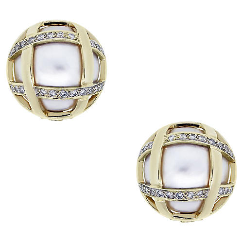 Gold, Pearl and Diamond Button Earrings