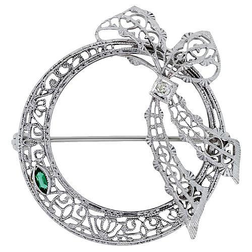 White Gold, Diamond and Emerald Pin