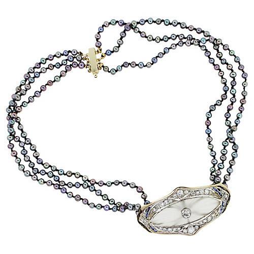 Gold Diamond Tahitian Pearl Necklace