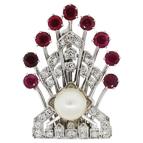 Platinum Diamonds Rubies Pearl Pin
