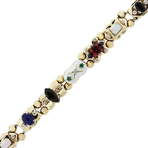 Gold Diamond and Gemstone Slide Bracelet