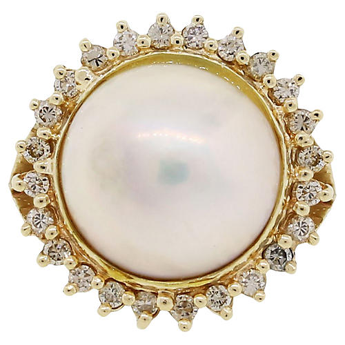 Gold, Diamond and Pearl Cocktail Ring