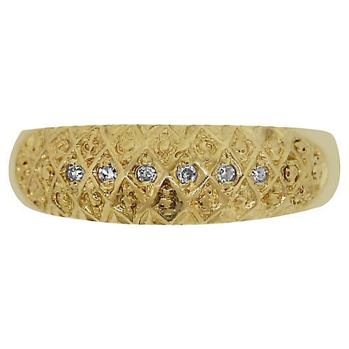 18k Yellow Gold Single Cut Diamond Band