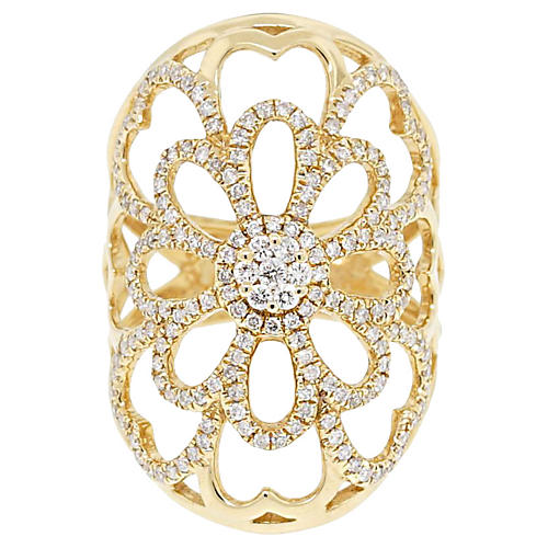 18k Yellow Gold Floral Diamond Ring