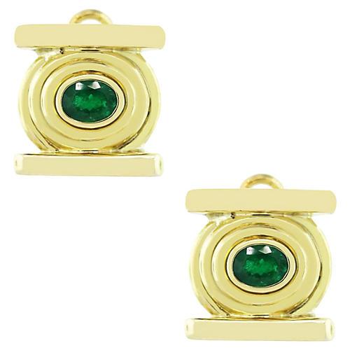 18k Yellow Gold Oval Cut Emerald Earring
