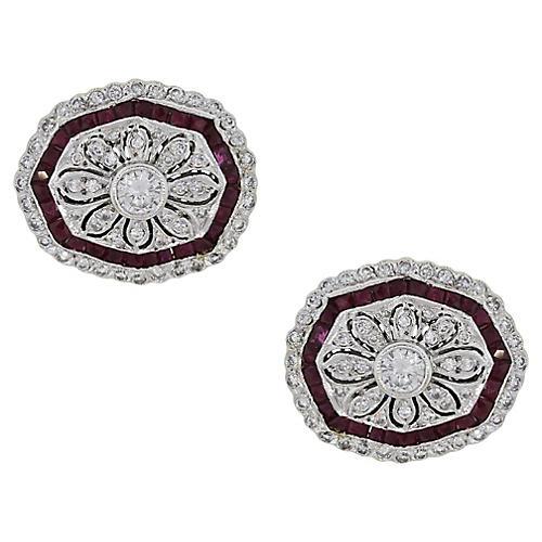 18k Diamond and Ruby Cufflinks
