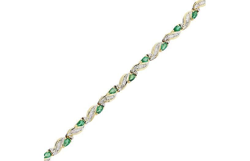 Gold, Diamond, & Emerald Bracelet