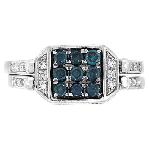 Blue & White Diamond Reversible Ring