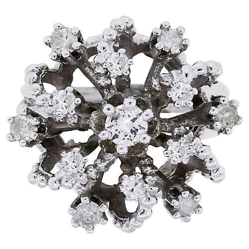 14K Diamond Cluster Cocktail Ring