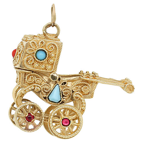 Gold, Turquoise & Pearl Carriage Charm