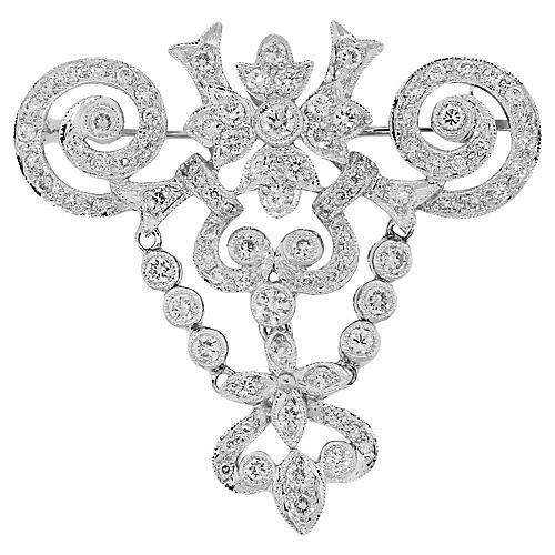 Gold, Diamond Pave Bezel Set Brooch