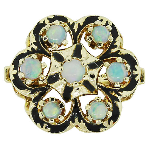 Gold & Opal Cluster Cocktail Ring