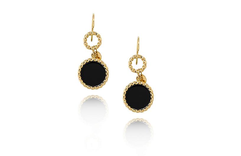 18K Yellow Gold Onyx Disc Drop Earrings