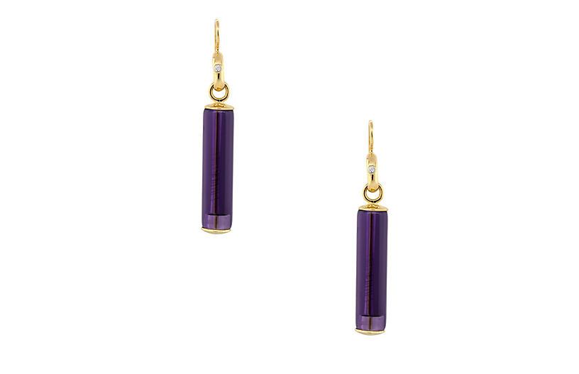 Long Amethyst & Diamond Earrings