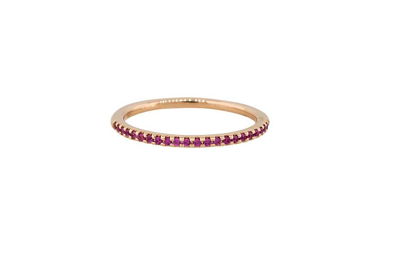 Round Pink Sapphire Halfway Ring