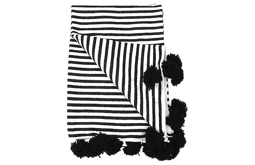 Cote d'Azur Moroccan Pom-Pom Blanket