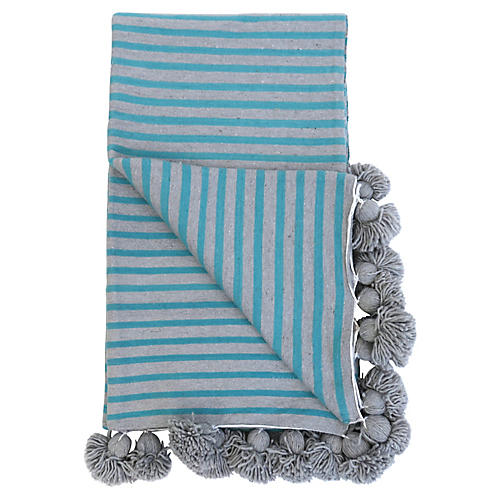 Grey and Turquoise Cotton Pom Blanket