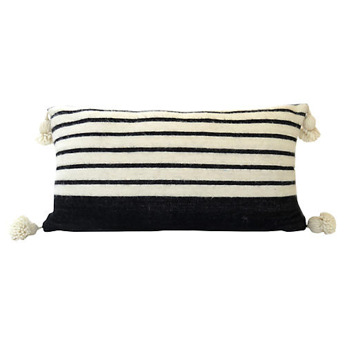 Black and Ivory Wool Pom Pillow