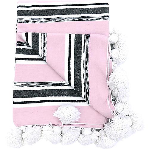 Moroccan Stripe Cotton Pom Pom Pillow