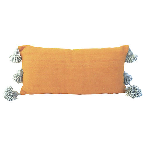 Gold and Silvery Blue Pom Pom Pillow