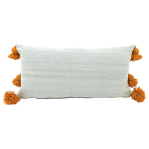 Silvery Blue & Gold Pom-Pom Pillow