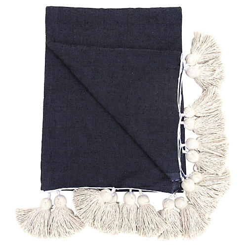 Black Cotton Pom Pom Blanket