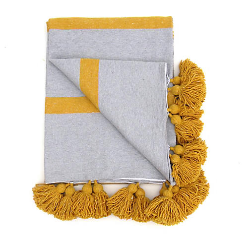 Gray Stripe Cotton Tassel Blanket