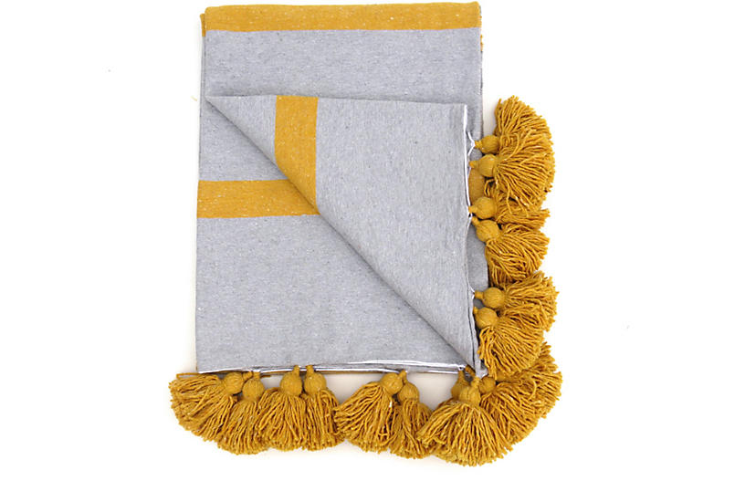 Gray Stripe Cotton Tassel Blanket