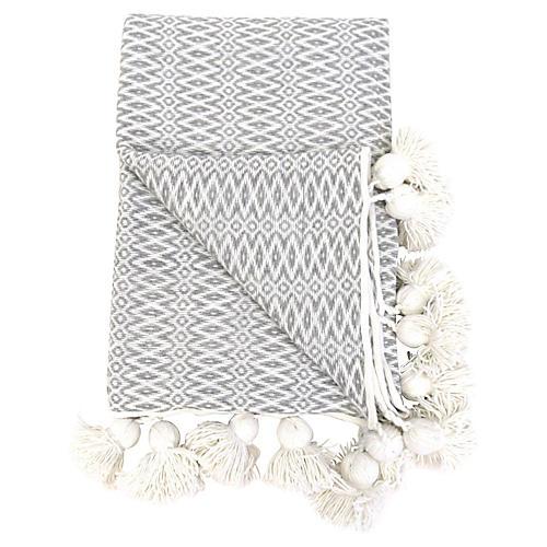 Gray Cotton Pom-Pom Blanket