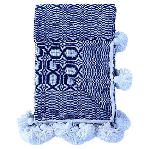 Blue & White Handwoven Coverlet, King