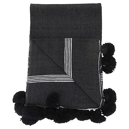 Black & White Pinstripe Pom Blanket