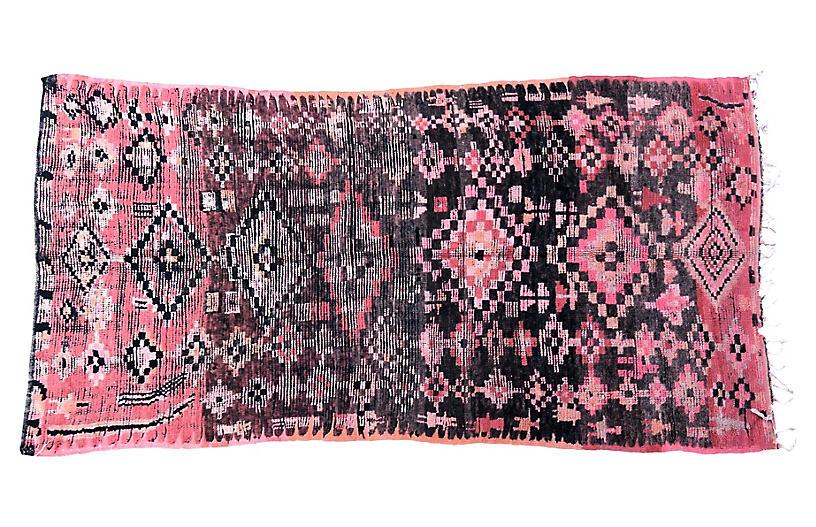 PInk and Black Vintage Tribal Boujad Rug