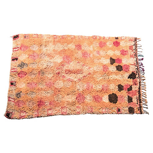 Abstract Orange and PInk Boujad Rug