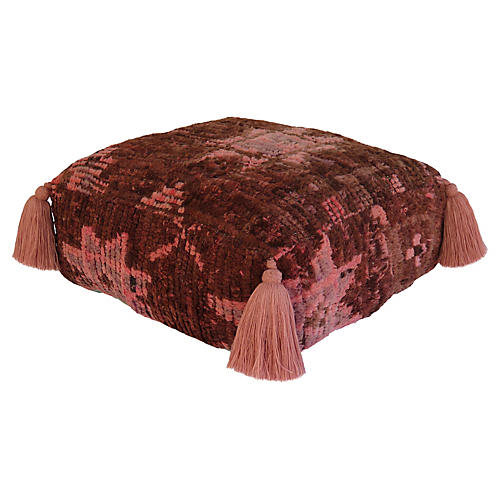 Brown and Pink Wool Pouf