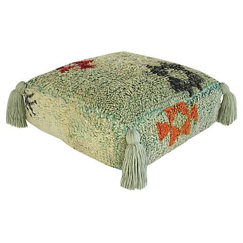 Light Green Wool Vintage Moroccan Pouf