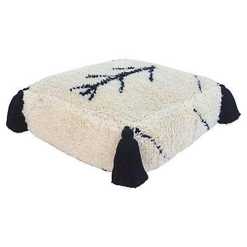 Moroccan Tribal Wool Pouf