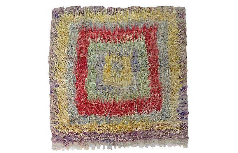 Antique Angora Wool Turkish Rug