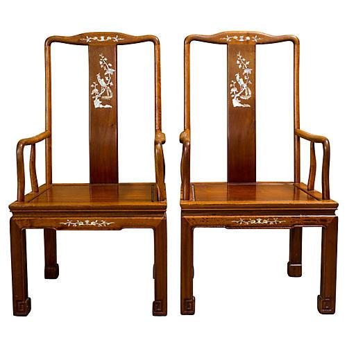Asian Elm Chairs, Pair